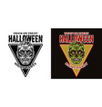 halloween emblem with zombie head two styles black vector image vector image