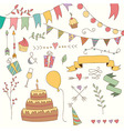 Hand drawn vintage birthday design elements vector image
