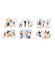 happy parents with children cleaning rooms and vector image vector image