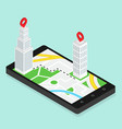 isometric city buildings with map gps navigation vector image