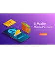 isometric wallet and credit card connected and vector image