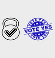 line valid weight icon and scratched vote vector image vector image