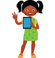 little african american girl in full growth holds vector image vector image