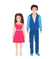 Little cute boy and girl together First class vector image vector image