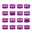 little cute funny purple alien emotions set vector image