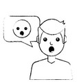 man with surprised emoticon in speech bubble vector image