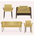 Modern golden sofa and arm chair furniture set vector image vector image
