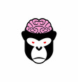Monkey brains logo head animal Pink brain vector image