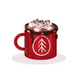 mug with cacao and marshmallow christmas hot vector image