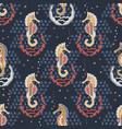 navy blue seahorses and shells nautical beach vector image