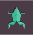 origami frog on dark background isolated vector image vector image