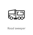 outline road sweeper icon isolated black simple vector image vector image