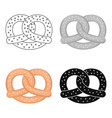 pretzel icon in cartoon style isolated on white vector image