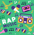 rap music seamless pattern urban street art icon vector image