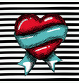 red heart sketch with blue ribbon around on pop vector image vector image