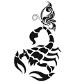 scorpion and butterfly vector image vector image
