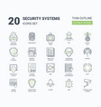 security systems icons set with linear style vector image vector image