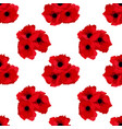 simple red flower poppy on white seamless pattern vector image vector image