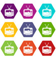 soccer match on tv icon set color hexahedron vector image