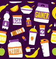 sport food nutrition seamless pattern vector image vector image