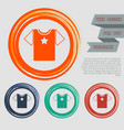 t-shirt icon on red blue green orange buttons vector image vector image