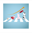The cute animals walk across the street vector image