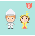 two happy cute kids characters Boy in Knight vector image