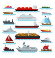 vessels in ocean nautical set vector image vector image
