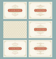 vintage ornament greeting cards set templates vector image vector image