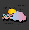 waves rainbow with sun and cloud design vector image