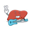 with guitar liver character cartoon style vector image
