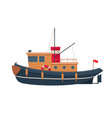 wooden tugboat vector image vector image