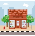 Bookstore and trees on the background of the city vector image