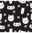 lovely cats seamless pattern black vector image