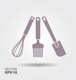 a collection of kitchen utensil silhouettes vector image vector image