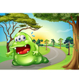 A fat monster jogging at the road vector image vector image