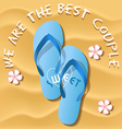 a pair of light blue flip flops on sandy beach vector image