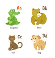 animal alphabet with alligator bear cat dog vector image vector image