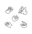 baby hands set line art little palm of children vector image