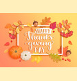 banner for happy thanksgiving day with frame vector image vector image