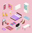 bedroom furniture isometric bed pillows vector image