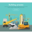 Building Process Web Banner Concept in Flat Style vector image vector image