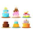 cartoon cream cakes set isolate on white vector image