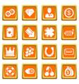 casino icons set orange square vector image vector image