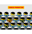 Chinese production Lot of people at work Chinese vector image vector image