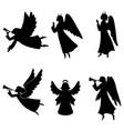 christmas angel silhouette set vector image