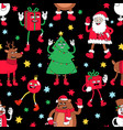 christmas cartoon seamless pattern with funny vector image