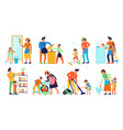 cleaning kids helping parents set vector image vector image