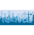 Construction Skyline Scene Blue Background vector image