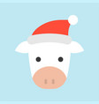 cow wearing santa hat flat icon design vector image vector image